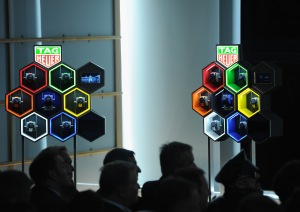 Die neuen Tag Heuer Connected im Schaufenster der Tag Heuer Boutique im LVMH Tower. (Photo by Craig Barritt/Getty Images for Tag Heuer)